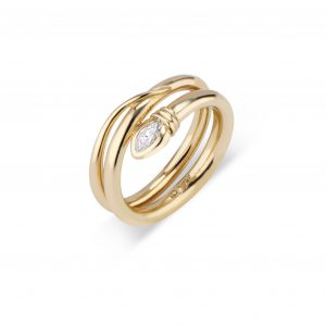 18Kt Yellow Gold Marquise-Cut Diamond Snake Ring