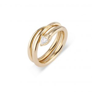 18KT Yellow Gold Trillion-Shaped Diamond Snake Ring