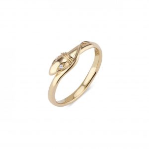 18KT Yellow Gold Diamond Snake Ring