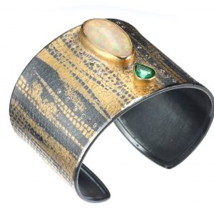 Opal, Emerald and Diamond Cuff Bracelet