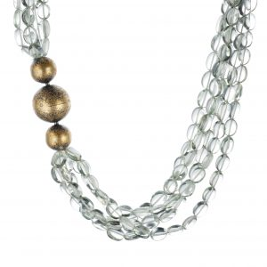 Prasiolite and Diamond Beaded Necklace