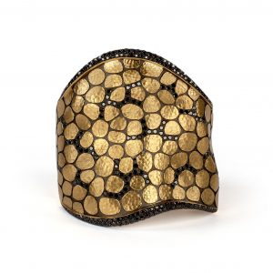 18K Yellow Gold Black Diamond Anaconda Cuff