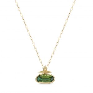 18Kt Yellow Gold Chrome Tourmaline Bee Necklace