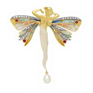 18K Yellow Gold Ruby, Diamond And Pearl Nymph Brooch