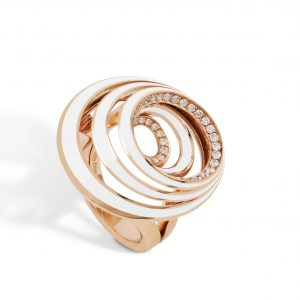 18K Rose Gold White Enamel And Diamond Ring