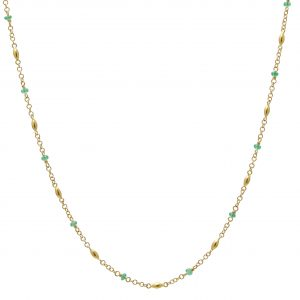 24K Yellow Gold Emerald Station Necklace