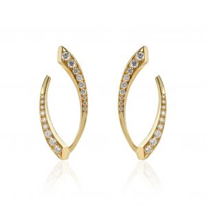 18Kt Yellow Gold Small El Dorado Diamond Pave Hoop Earrings