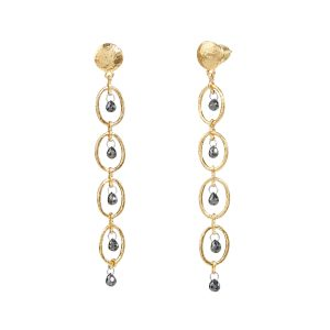 24K Yellow Gold Black Diamond Stiletto Earrings