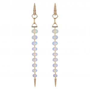18Kt Rose Gold Opal and Diamond Stiletto Earrings