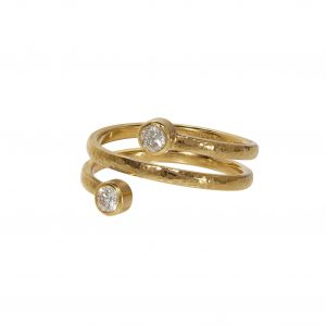 24K Yellow Gold Diamond Coil Ring