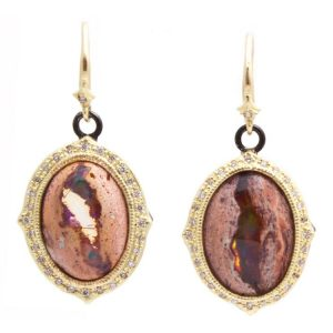 18K Yellow Gold and Sterling Silver Oval Mexican Fire Opal Earrings