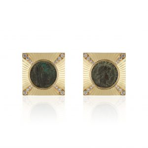 18K Yellow Gold and Diamond Roman Coin Earrings