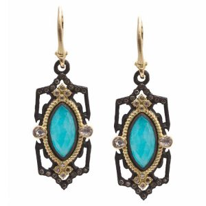 18K Yellow Gold, Blackened Sterling Silver and Marquise Blue Turquoise Earrings