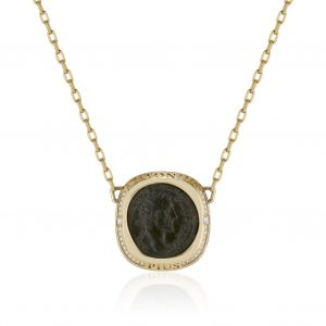 18K Yellow Gold and Diamond Roman Coin Necklace