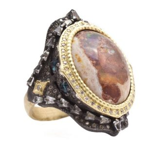 18K Yellow Gold and Sterling Silver Oval Mexican Fire Opal Cocktail Ring