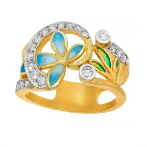 18K Yellow Gold Diamond Garden Ring