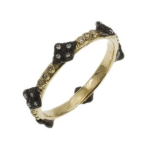18K Yellow Gold and Oxidized Sterling Silver Pave Diamond Crivelli Stack Ring