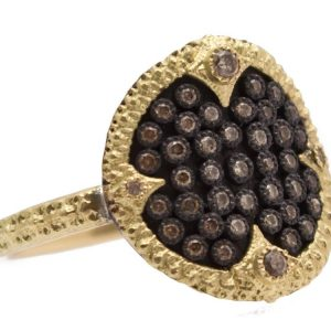 18K Yellow Gold, Sterling Silver and Champagne Diamond Crivelli Pave Disc Ring
