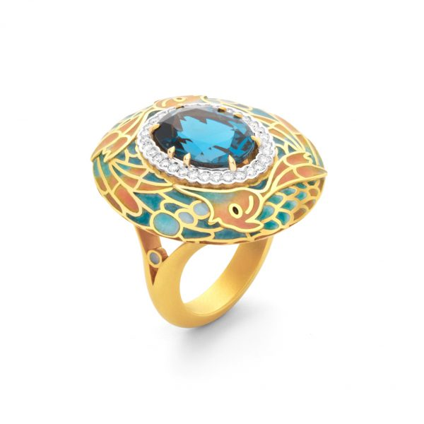 18K Yellow Gold Blue Topaz Ring