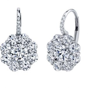 Platinum Cluster Diamond Drop Earrings
