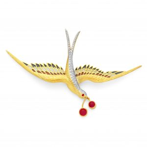 18K Yellow Gold Diamond and Ruby Enamel Swallow Bird Pendant-Brooch