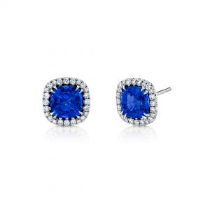 18K White Gold Sapphire and Diamond Stud Earrings