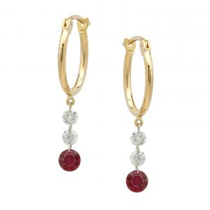 18K Yellow Gold Ruby & Diamond Dangle Earrings
