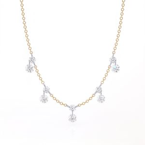 18K Yellow Gold Diamond Fringe Necklace