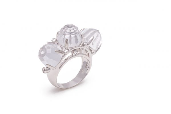 18K White Gold Crystal and Diamond Triple Dome Ring