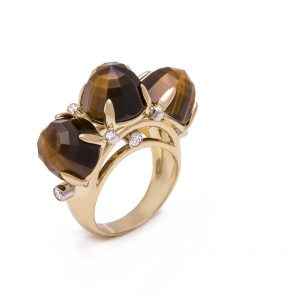 18K Yellow Gold Tiger's Eye and Diamond Triple Dome Ring