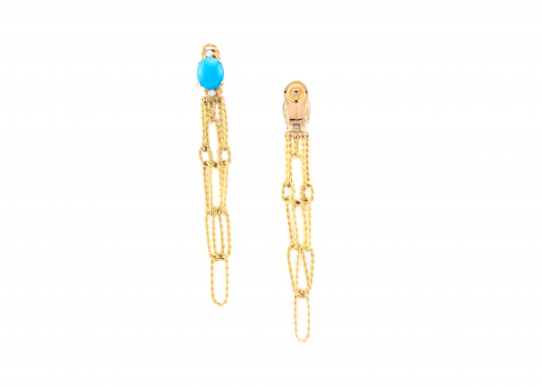 18K Yellow Gold Turquoise and Diamond Multi-Link Drop Earrings