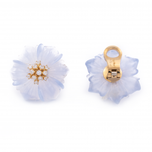 18K Yellow Gold Chalcedony and Diamond Flower Earrings
