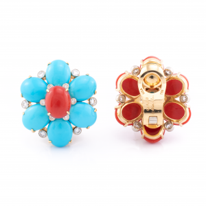 18K Yellow Gold Coral, Turquoise and Diamond Floral Earrings
