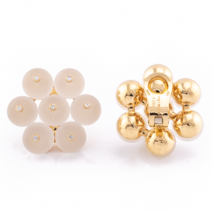 18K Yellow Gold Frosted Crystal Bead and Diamond Earrings