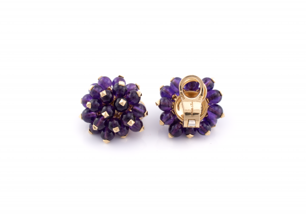 18K Yellow Gold and Amethyst Pom-Pom Earrings