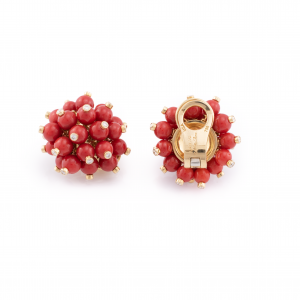 18K Yellow Gold Coral and Diamond Pom-Pom Earrings