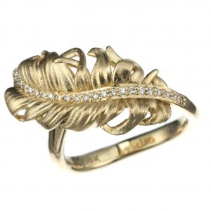 18KT Yellow Gold Diamond Feather Ring