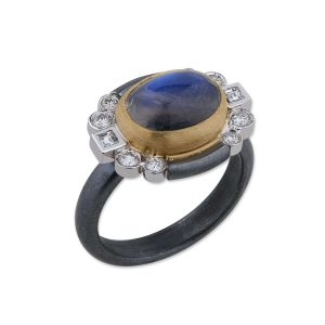 Gold and Sterling Silver Rainbow Moonstone and Diamond Ring