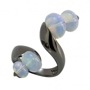 18k Yellow Gold Opal and Blue Topaz Ring