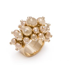 18k Yellow Gold Multi Sized Bead and Diamond Accent Bubble Ring