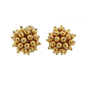 18k Yellow Gold Bead and Diamond Accent Pom Pom Earrings